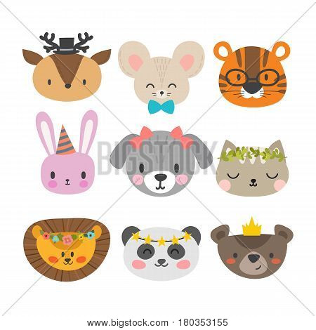 Cute Animals With Funny Accessories. Set Of Hand Drawn Smiling Characters. Cat, Lion, Dog, Tiger, Pa