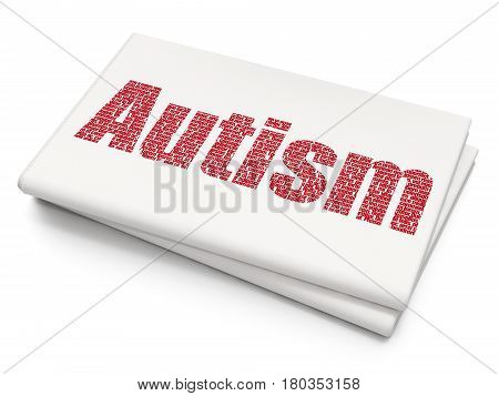 Medicine concept: Pixelated red text Autism on Blank Newspaper background, 3D rendering