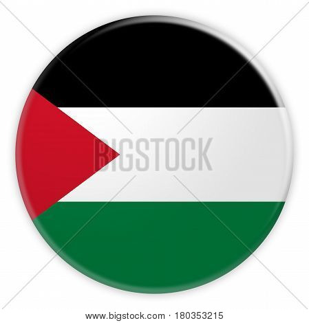 Palestine Flag Button News Concept Badge 3d illustration on white background