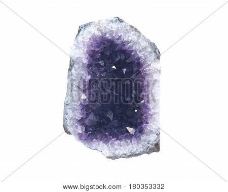 Amethyst cathedral geode specimen from Brazil isolated on white background