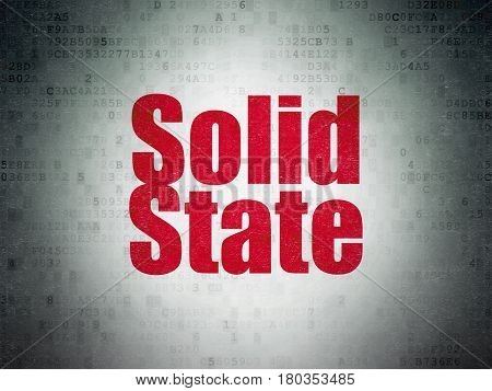 Science concept: Painted red word Solid State on Digital Data Paper background