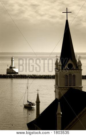 Old Church & Tranquil Harbor (Sepia)