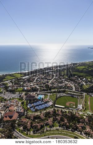 Aerial view of homes, streets and ball fields in Malibu, California.