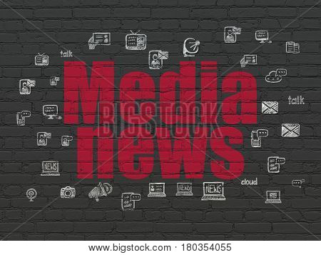 News concept: Painted red text Media News on Black Brick wall background with  Hand Drawn News Icons