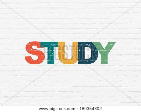 Studying concept: Painted multicolor text Study on White Brick wall background