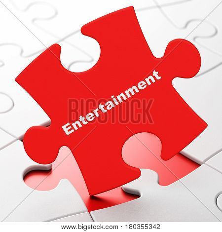 Entertainment, concept: Entertainment on Red puzzle pieces background, 3D rendering