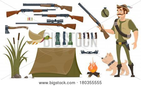 Hunting elements set with hunter dog trap weapons knives axe duck tent bonfire reeds plant flashlights isolated vector illustration