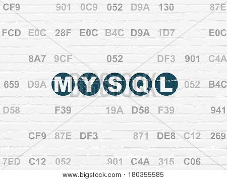 Programming concept: Painted blue text MySQL on White Brick wall background with Hexadecimal Code