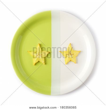 Two slices of starfruit (carambola) on a two-colored plate