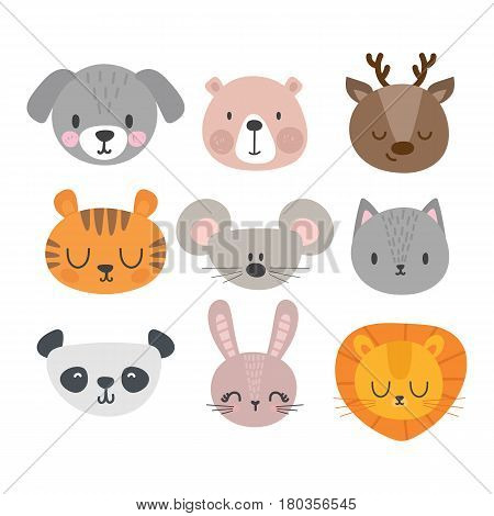 Set Of Cute Hand Drawn Smiling Animals. Cat, Deer, Panda, Tiger, Dog, Lion, Bunny, Mouse And Bear. C