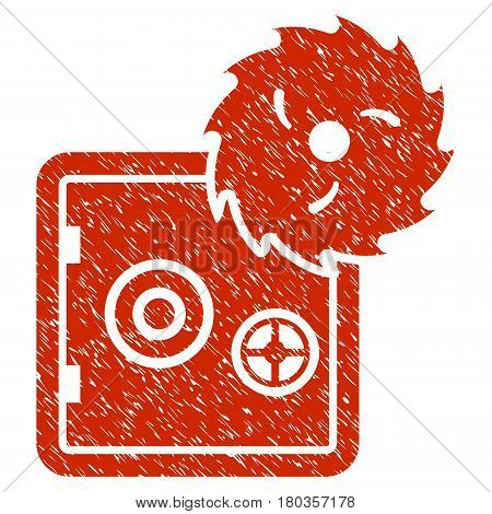 Grunge Bank Safe Hacking Theft icon with grunge design and dirty texture. Unclean vector red pictogram for rubber seal stamp imitations and watermarks. Draft sticker symbol.