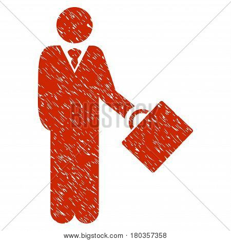 Grunge Businessman icon with grunge design and dirty texture. Unclean vector red pictogram for rubber seal stamp imitations and watermarks. Draft emblem symbol.