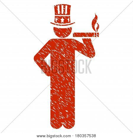 Grunge Capitalist icon with grunge design and dirty texture. Unclean vector red pictogram for rubber seal stamp imitations and watermarks. Draft emblem symbol.