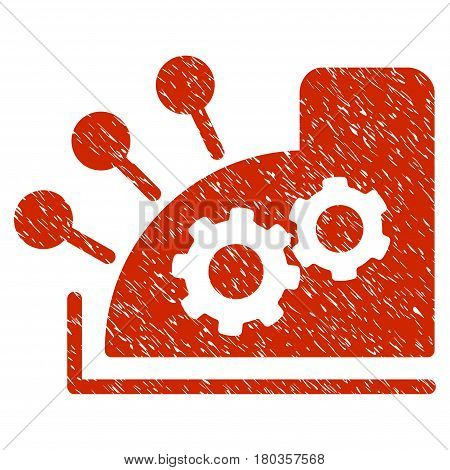 Grunge Cash Register icon with grunge design and unclean texture. Unclean vector red pictogram for rubber seal stamp imitations and watermarks. Draft sticker symbol.