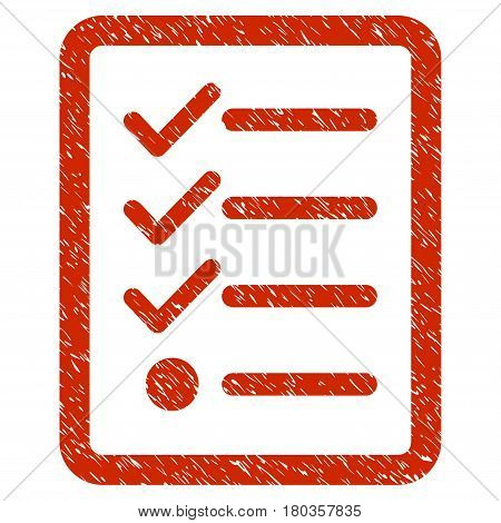 Grunge Checklist icon with grunge design and dust texture. Unclean vector red pictogram for rubber seal stamp imitations and watermarks. Draft emblem symbol.