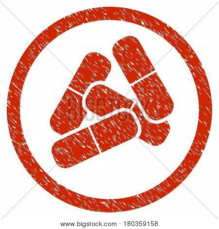 Grunge Drugs icon with grunge design and dust texture. Unclean vector red pictogram for rubber seal stamp imitations and watermarks. Draft sign symbol.
