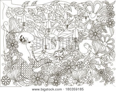 Monochrome doodle hand drawn girl with loving bird, flowers background, Lorem ipsum. Anti stress stock vector illustration