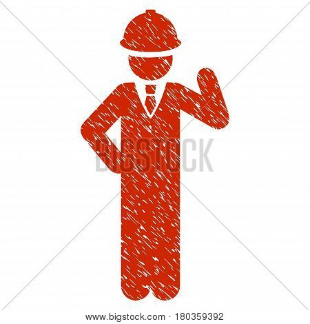 Grunge Engineer icon with grunge design and dust texture. Unclean vector red pictogram for rubber seal stamp imitations and watermarks. Draft sticker symbol.