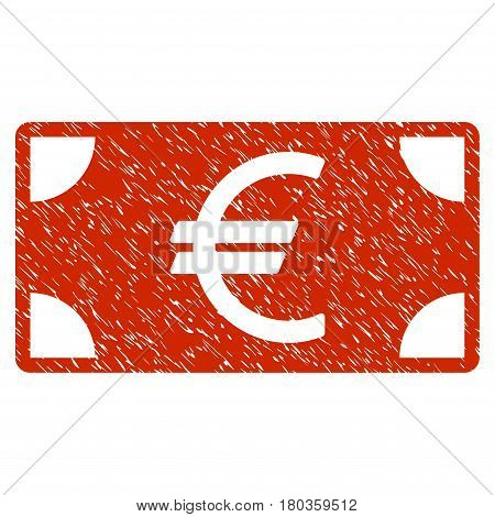 Grunge Euro Banknote icon with grunge design and scratched texture. Unclean vector red pictogram for rubber seal stamp imitations and watermarks. Draft emblem symbol.