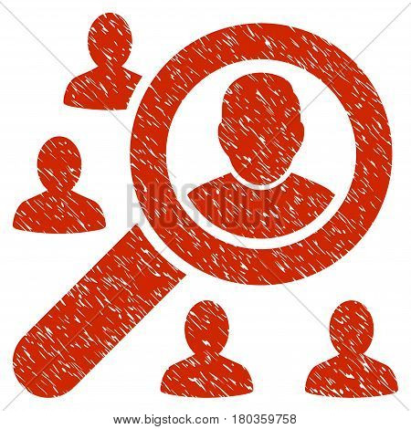 Grunge Find Users icon with grunge design and unclean texture. Unclean vector red pictogram for rubber seal stamp imitations and watermarks. Draft sign symbol.