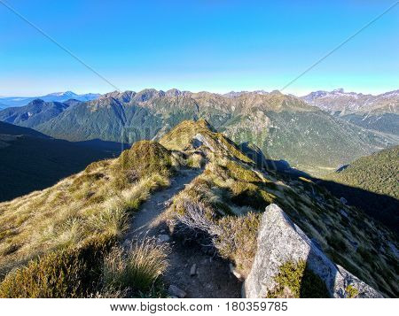 View from first viewpoint after mounting to the top after iris burn hut on the kepler track new zealand