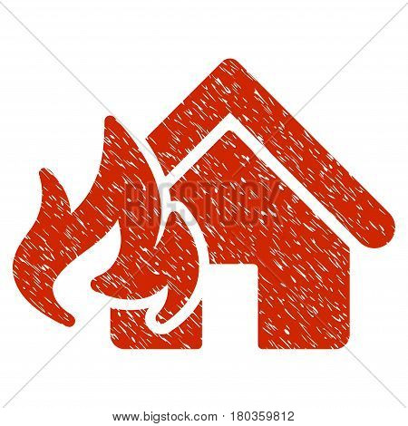 Grunge Fire Damage icon with grunge design and unclean texture. Unclean vector red pictogram for rubber seal stamp imitations and watermarks. Draft sign symbol.