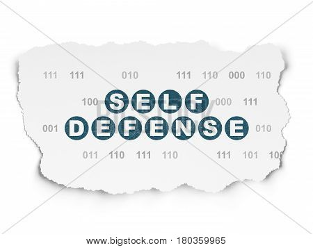 Security concept: Painted blue text Self Defense on Torn Paper background with  Binary Code