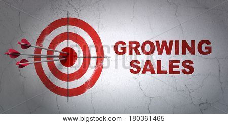 Success business concept: arrows hitting the center of target, Red Growing Sales on wall background, 3D rendering
