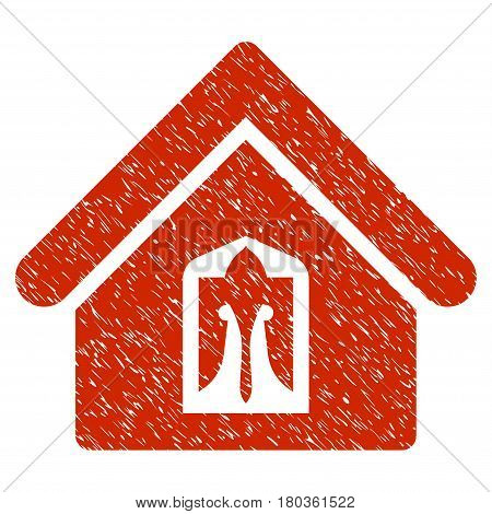 Grunge Home icon with grunge design and scratched texture. Unclean vector red pictogram for rubber seal stamp imitations and watermarks. Draft emblem symbol.