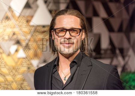 ISTANBUL, TURKEY - MARCH 16, 2017: Brad Pitt wax figure at Madame Tussauds  museum in Istanbul. William Bradley