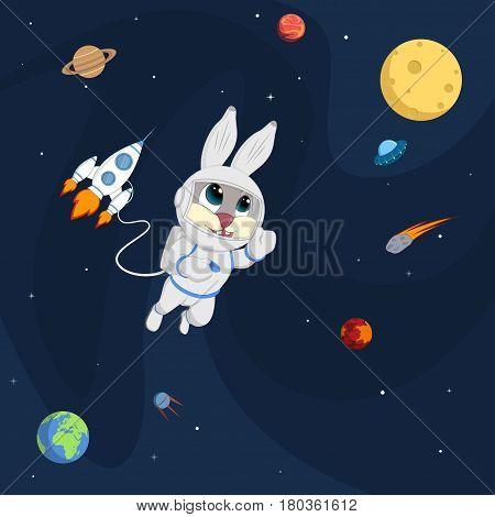Planets, rockets and stars. Cartoon vector illustration