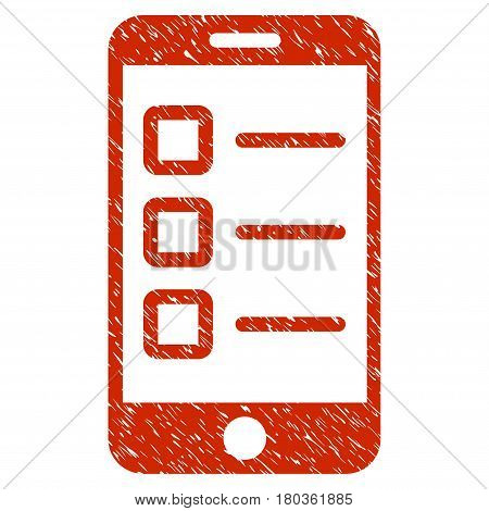 Grunge Mobile Test icon with grunge design and dirty texture. Unclean vector red pictogram for rubber seal stamp imitations and watermarks. Draft sign symbol.