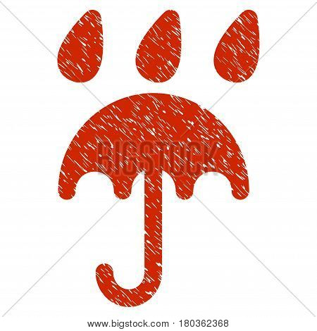 Grunge Rain Protection icon with grunge design and unclean texture. Unclean vector red pictogram for rubber seal stamp imitations and watermarks. Draft sticker symbol.