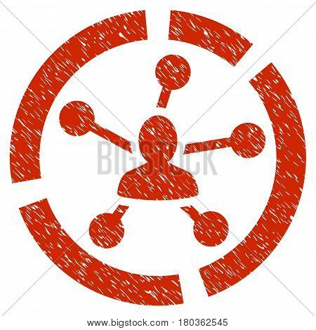 Grunge Relations Diagram icon with grunge design and scratched texture. Unclean vector red pictogram for rubber seal stamp imitations and watermarks. Draft emblem symbol.