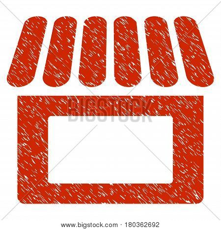 Grunge Shop icon with grunge design and dirty texture. Unclean vector red pictogram for rubber seal stamp imitations and watermarks. Draft sticker symbol.