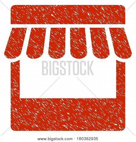 Grunge Store icon with grunge design and scratched texture. Unclean vector red pictogram for rubber seal stamp imitations and watermarks. Draft sticker symbol.