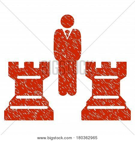 Grunge Strategy Chess Towers icon with grunge design and dirty texture. Unclean vector red pictogram for rubber seal stamp imitations and watermarks. Draft sign symbol.