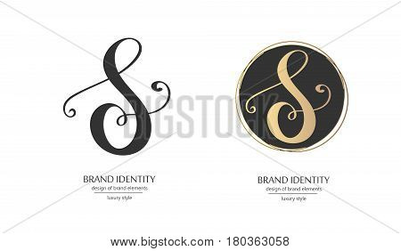 Luxury calligraphic letter S monogram - vector logo template. Sophisticated brand identity design. Vector illustration