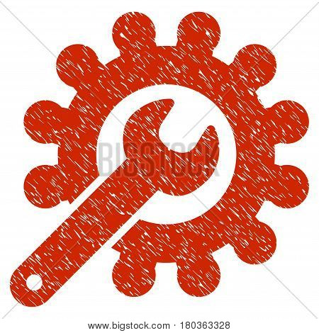 Grunge Wrench And Gear Customization Tools icon with grunge design and scratched texture. Unclean vector red pictogram for rubber seal stamp imitations and watermarks. Draft sticker symbol.