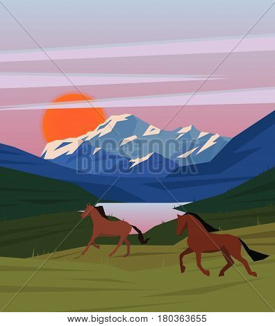 Colorful sunrise nature scenery template with horses running on meadow on lake and mountain landscape vector illustration