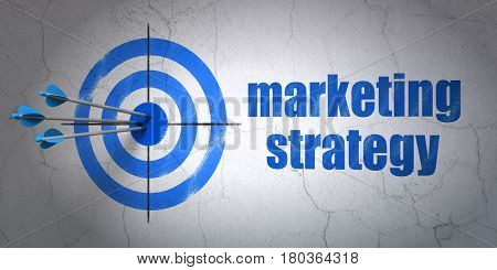 Success advertising concept: arrows hitting the center of target, Blue Marketing Strategy on wall background, 3D rendering