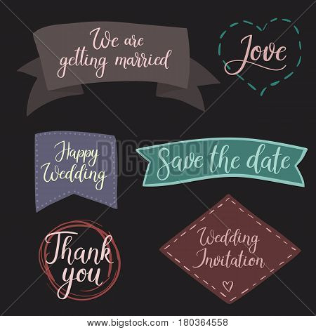 Vector Set For Design Wedding Invitations, Photo Overlays And Cards. Modern Calligraphy
