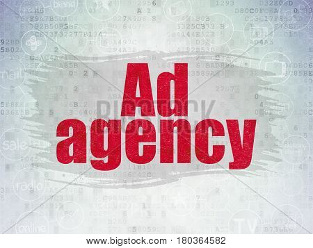 Advertising concept: Painted red text Ad Agency on Digital Data Paper background with  Scheme Of Hand Drawn Marketing Icons
