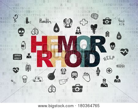 Health concept: Painted multicolor text Hemorrhoid on Digital Data Paper background with  Hand Drawn Medicine Icons