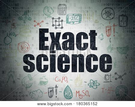 Science concept: Painted black text Exact Science on Digital Data Paper background with  Scheme Of Hand Drawn Science Icons