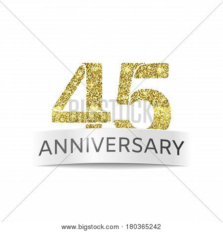 Forty-five year anniversary. The banner 45th birthday Golden color