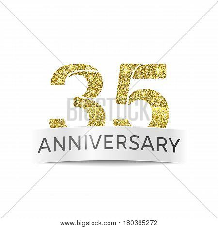 Thirty-five year anniversary. Banner 35th birthday golden color