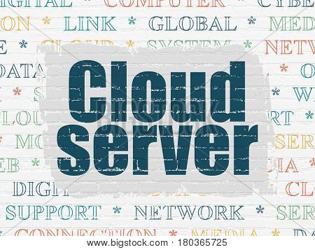 Cloud computing concept: Painted blue text Cloud Server on White Brick wall background with  Tag Cloud