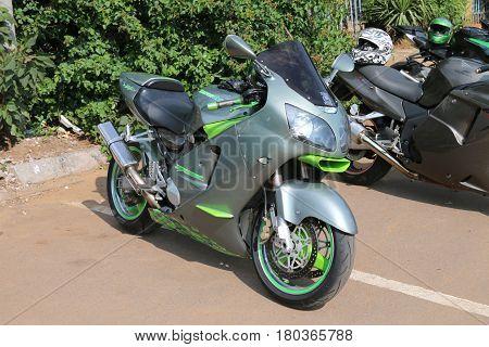 Parked Large Metal Green Kawasaki Zx12R / Ninja Zx-12R 1200Cc Motorbike