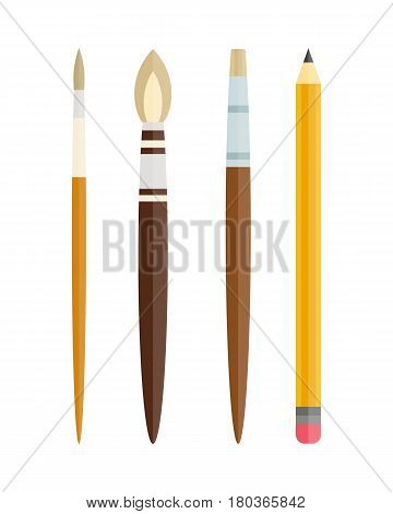 Paint and writing tools collection flat style colored stationery equipment drawing and education artist cartoon sketching vector illustration. Creative instrument craft business supplies.